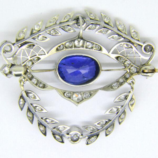 sapphire diamond brooch reverse