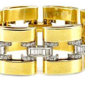 A 1950's gold and diamond tank bracelet