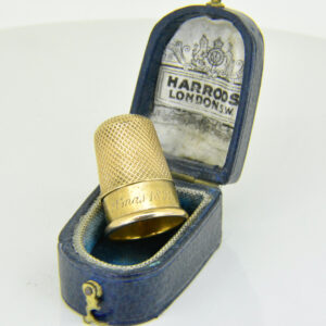 Victorian gold thimble in Harrods case