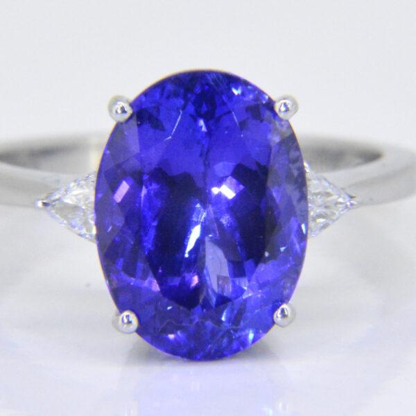Tanzanite diamond three stone ring Jethro Marles
