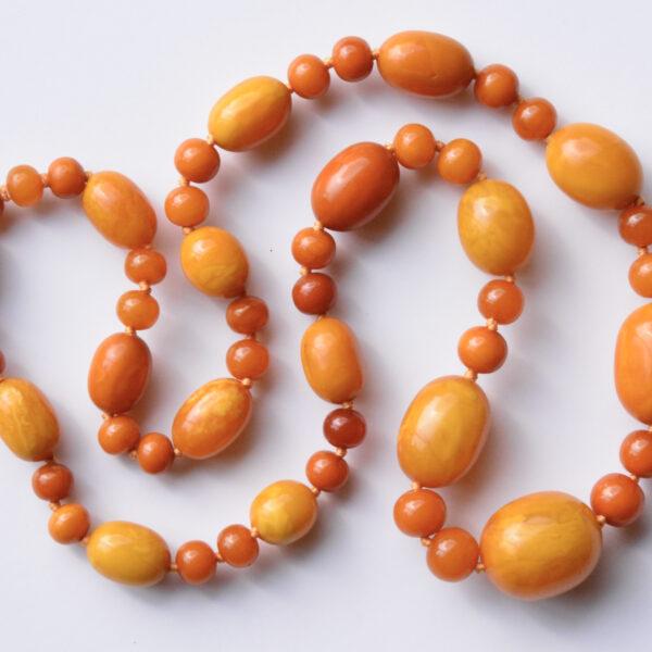 Natural Amber Bead Necklace egg yolk 103.2gm at Jethro Marles