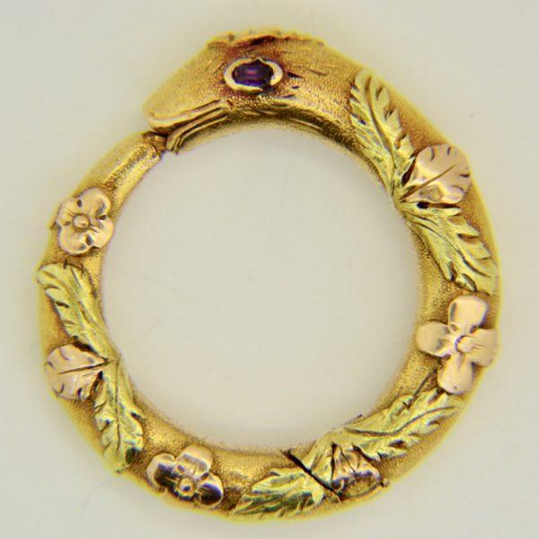 Antique gold snake ring