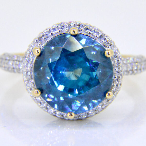 Blue zircon diamond ring for sale Jethro Marles