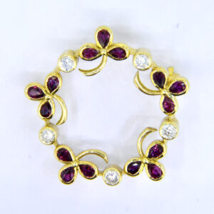 ruby diamond garland brooch