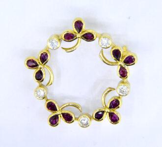ruby diamond garland brooch