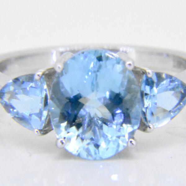 Aquamarine three-stone ring ILIANA at Jethro Marles