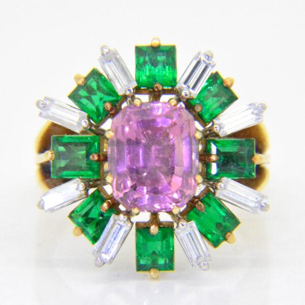 2.5ct Rubellite Emerald Diamond ring £3,250 at Jethro Marles