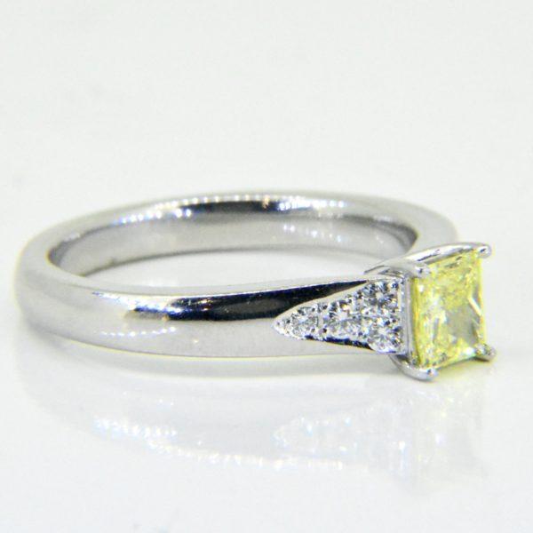 Fancy intense yellow diamond ring