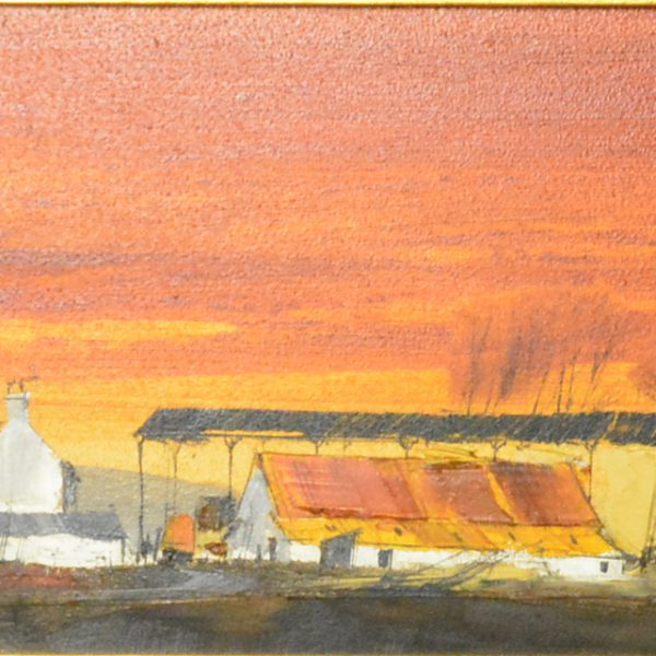 Michael D Barnfather Farm buildings at sunset