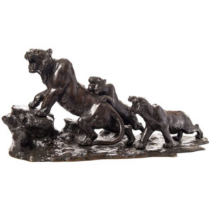 Bronze tiger and cubs