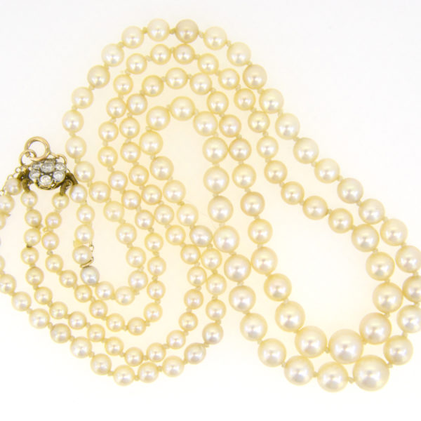 Graduated cultured pearl two-string necklace