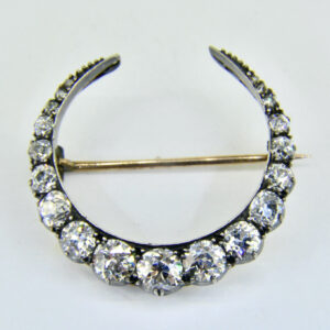 Diamond crescent brooch