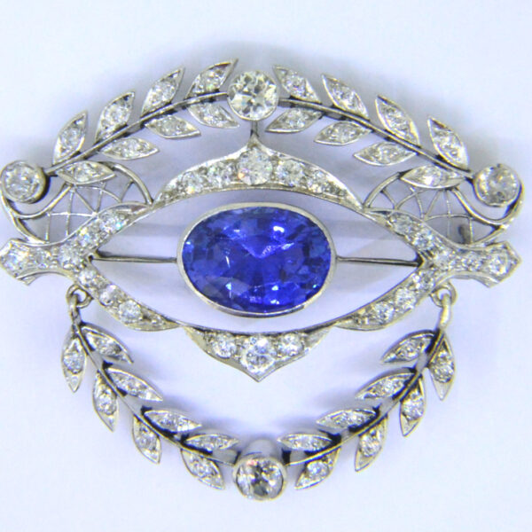 sapphire diamond brooch