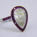 3.5ct pear shaped diamond ruby ring