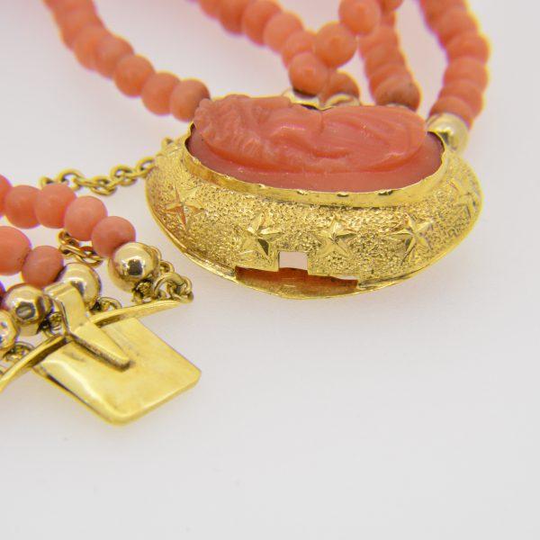 Coral relief portrait & coral bead bracelet