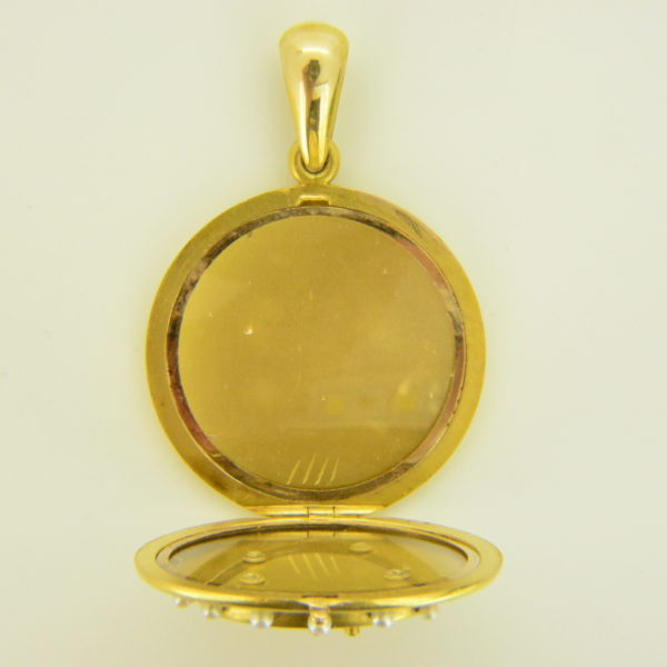enamelled gold locket