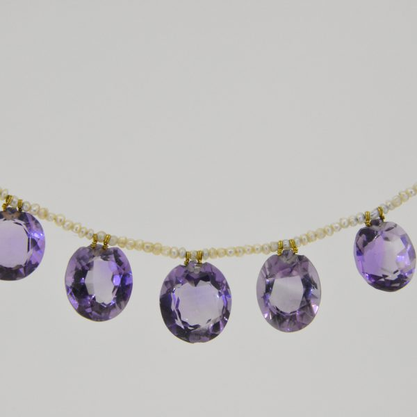 Amethyst & seed pearl fringe necklace