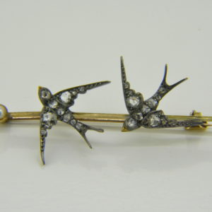 Victorian rose diamond double swallow brooch