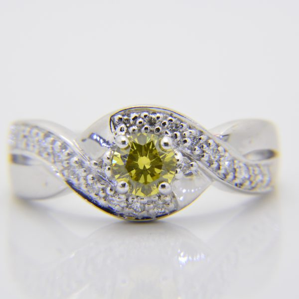 Yellow diamond cluster ring