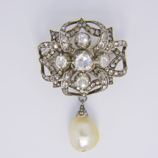 Natural pearl & rose diamond brooch