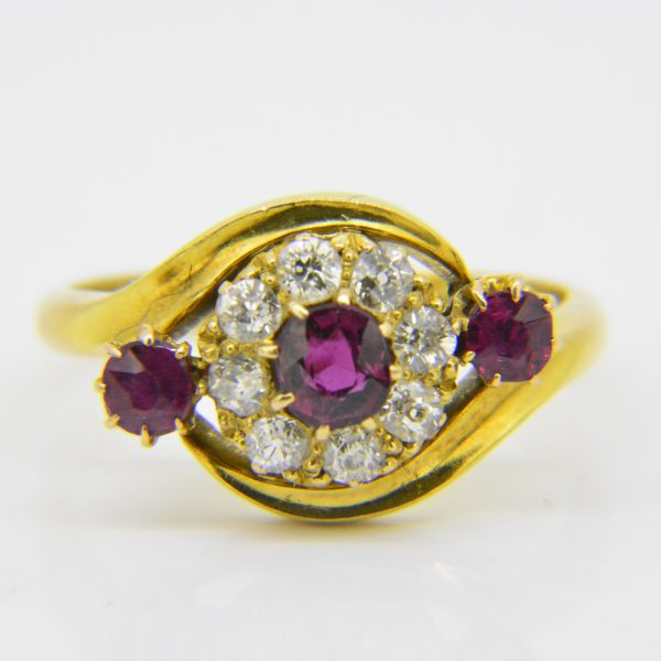 Victorian 18ct gold ruby and diamond cluster ring