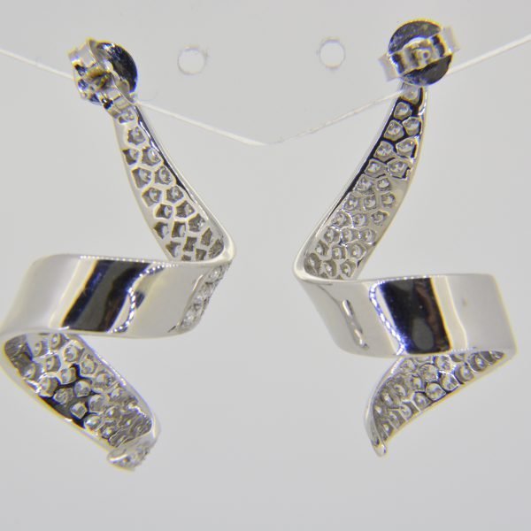 Diamond spiral ribbon drop earrings
