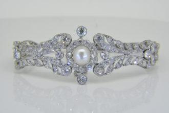 natural pearl diamond bracelet
