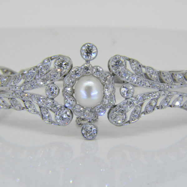natural pearl diamond bracelet