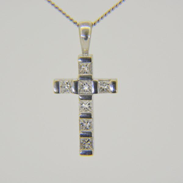 18ct white gold princess diamond cross