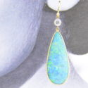 Pair black opal drop earrings