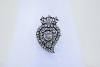 19th century diamond heart brooch