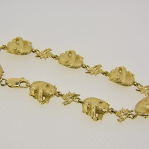 14ct gold giant panda bracelet