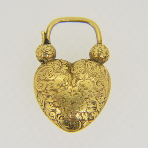 Victorian gold heart locket clasp