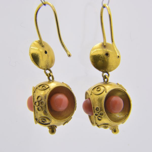 Victorian gold,coral earrings