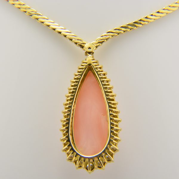 'Angel-skin' coral,diamond necklace