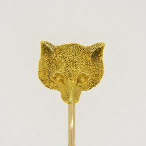 19th century gold fox stick pin