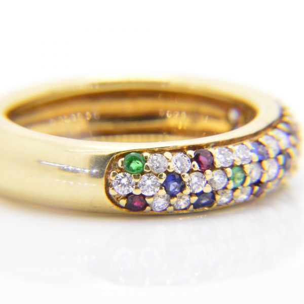 Diamond,sapphire,emerald,ruby cluster ring