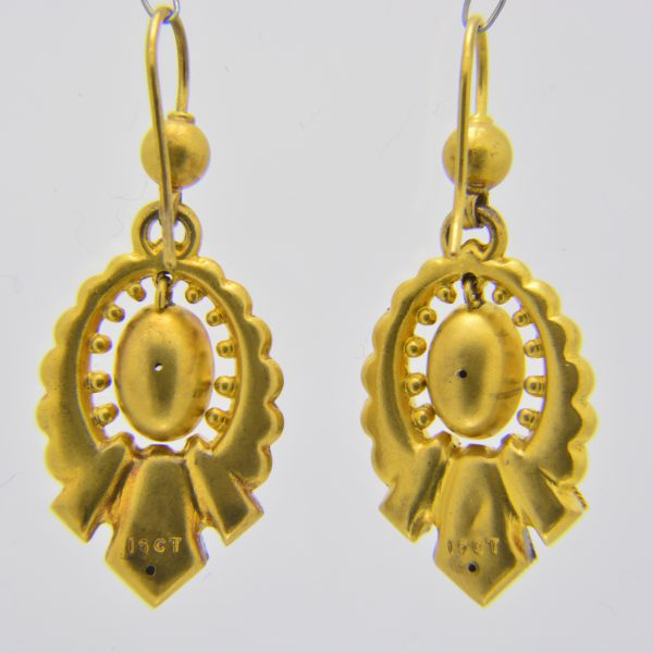 Pair Victorian gold & diamond earrings