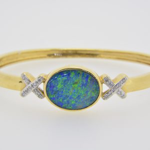 Black opal doublet bangle