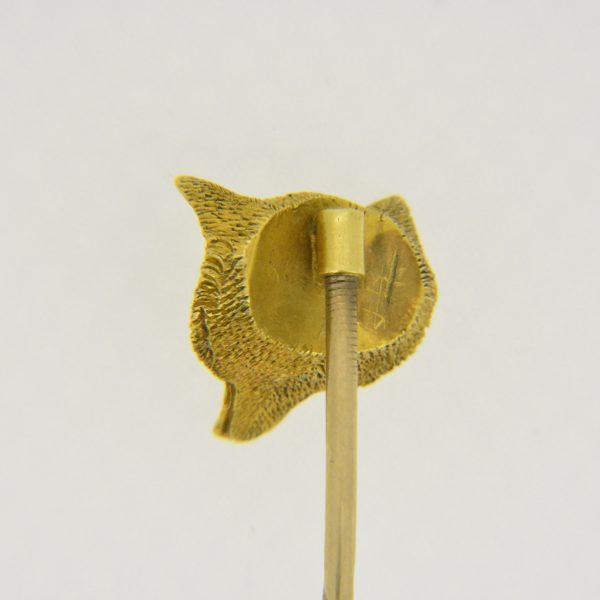 19th century gold fox stick pin