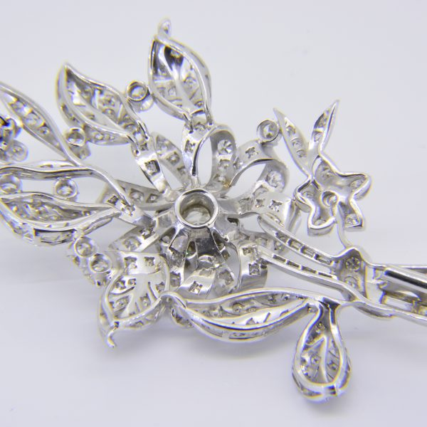 Diamond floral spray brooch