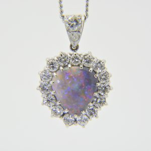 black opal diamond heart pendant