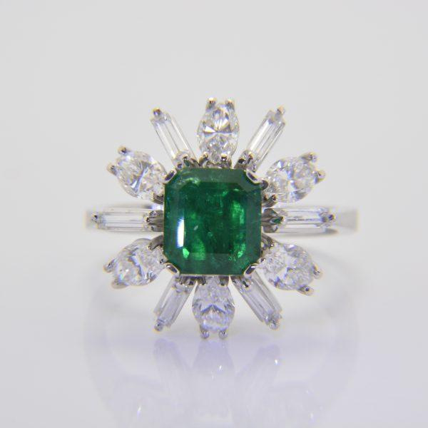 Emerald diamond cluster ring