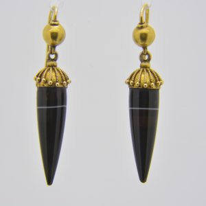 Victorian gold & banded agate drop earrings