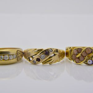 Three Victorian gold gem-set rings