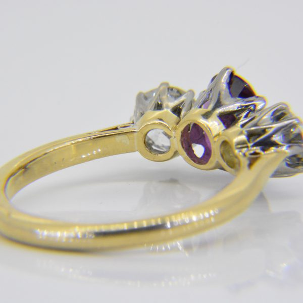 pink sapphire diamond 3 stone ring