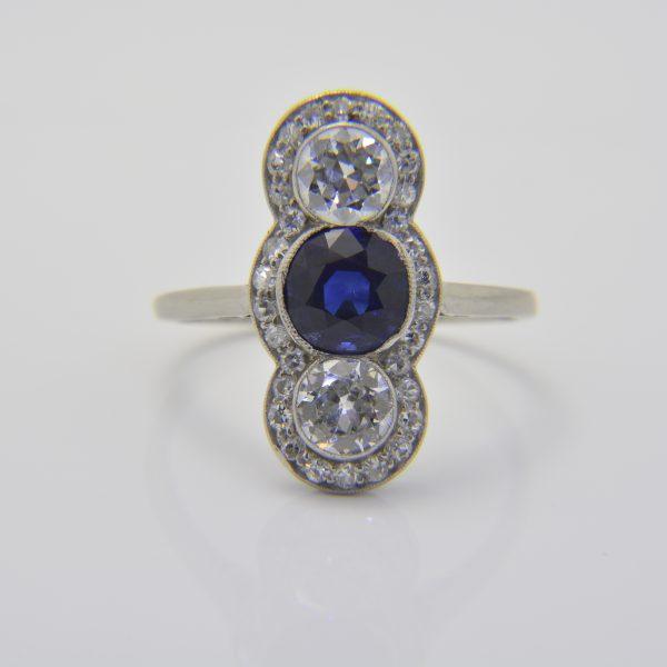 Sapphire diamond three-stone ring