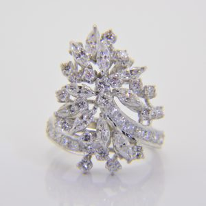 Diamond cocktail cluster ring