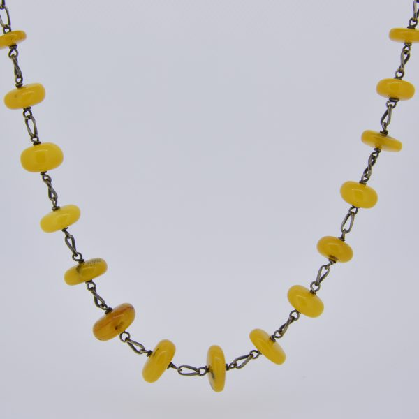 Amber bead, polish silver, necklace