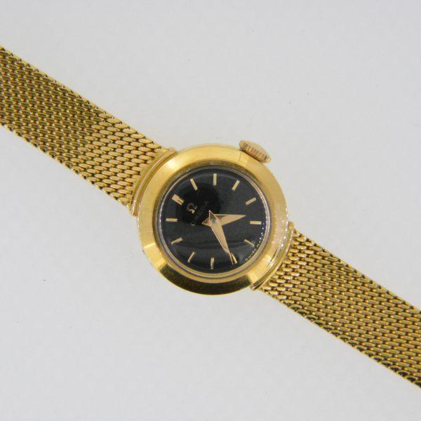 ladys 18ct omega black dial wristwatch